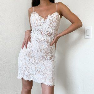 White Floral Lace Knee Length Bodycon Dress